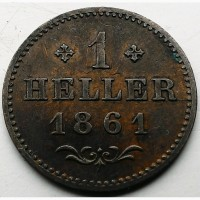 Франкфурт, 1 геллер 1861 год СОСТОЯНИЕ!! РЕДКАЯ