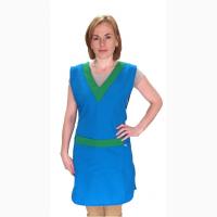 Фартук-накидка Венус, голубой, халат для продавца, халат для уборщицы