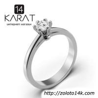 Золотое кольцо с бриллиантом 0, 24 карат 17 мм. Кольцо для предложения Белое золото. Новое