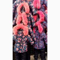 Детский зимний комбинезон Цветы для девочек 1-4 года опт и розница - S9969